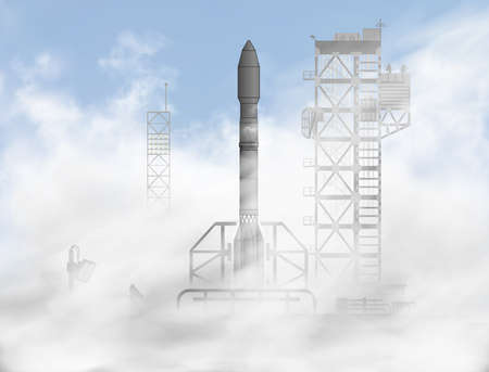 Space rocket day start iin the sun beams inside the clouds of smoke from the spaceship launching site or cosmodrome. Spacecraft semi flat semi 3d realistic vector illustration.