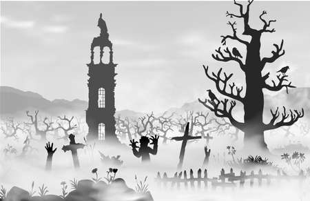 Halloween scareful landscape with trees, spooky branches, old church, graveyard objects, fence, zombies and hands of undeads. Black and whte simple hand drawn vector silhouettes
