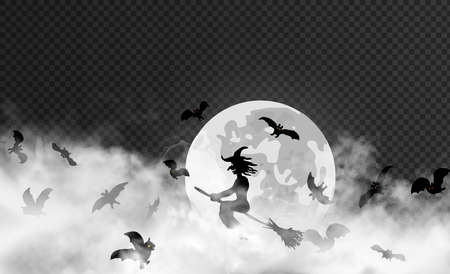 The witch surrounded by bats flyes through thick smoke clouds against the Moon on the dark transparent background. Halloween vector illustration. May be placed in front of any other dark backdrop.
