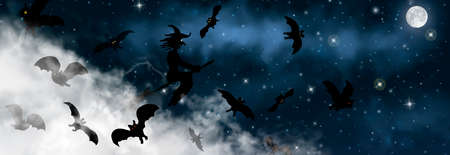 The witch sitting on the broom flyes through clouds up above the sky with Moon and stars shining on it. Old hag surrounded by bats on the night background. Halloween vector realistic illustration.