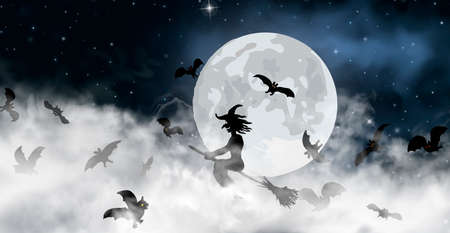 The witch sitting on the broom flyes through clouds up above the sky with Moon and stars shining on it. Old hag surrounded by bats on the night space background. Halloween vector illustration Stock Illustratie
