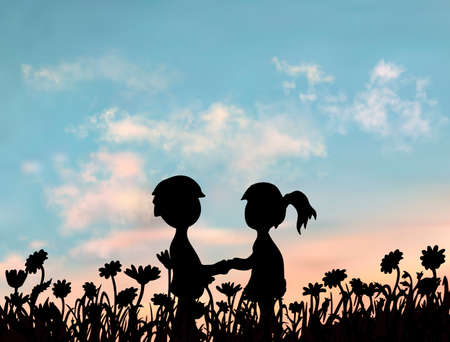 Boy and girl are standing together and holding their hands at the sunset. Romantic valentine image. Simple silhouette illustration under the realistic vector sky Vektorgrafik