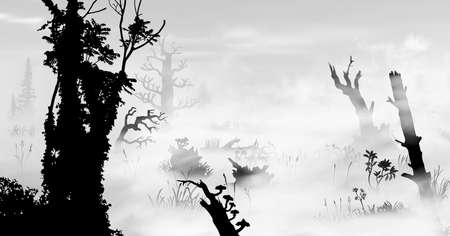 Swamp in the fog art. Black and white silhouette vector illustration of the bog with trees, fungus, stumps, grass, mist, plants, woods at morining.