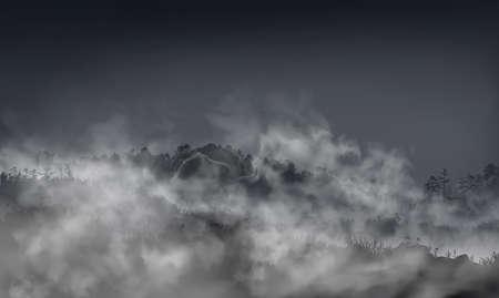 Grassy foggy field with hills, rocks, boulders inside the mist clouds. Vector hazy landscape halloween llustration.