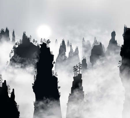 Tianzi Mountains or Avatar Mountains in the Zhangjiajie Forest Park covered with fog with sun shining through it.. Hunan Province, China. Vector silhouette illustration