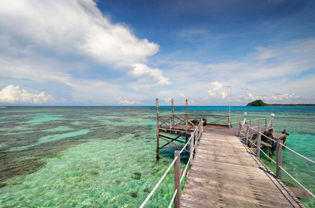 Rustic wooden pier extends into the horizon over clear water.
