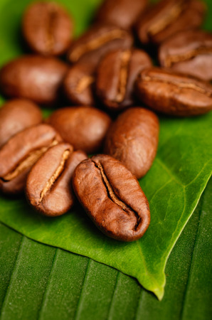 Fair trade organic coffee beans on a green leaf. Zdjęcie Seryjne - 67957651