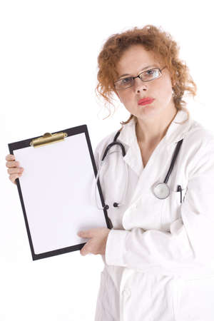 red hair lady doctor in glasses, white uniform, with stethoscope holding blank clipboard Stock Photo - 5918208