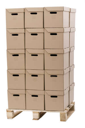 wooden pallet overloaded with brown carboard boxes put in tower Stock Photo - 5923496