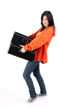 beautiful young woman with dark hair keeping black boxes Stock Photo - 7692742
