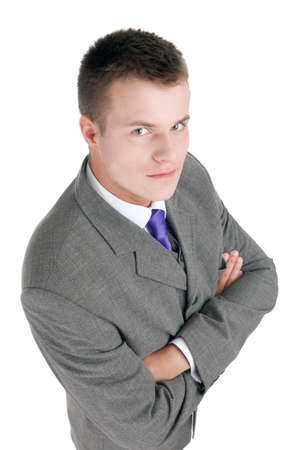 young businessman in grey suit with crossed arms  Stock Photo - 7865506