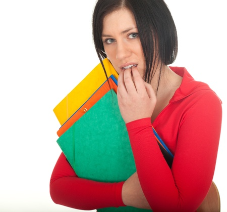 depressed lady student with coloured note pads Stock Photo - 8384191