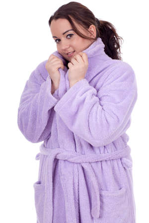 dark hair overweight, fat woman in bathrobe Stock Photo - 9032177
