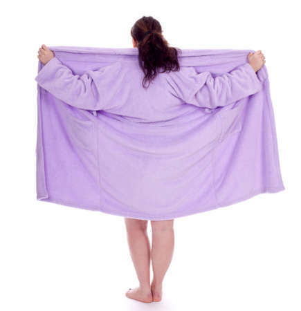 dark hair overweight, fat woman in bathrobe Stock Photo - 9031848