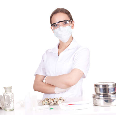 woman doctor or chemist in laboratory standing with crossed arms Stock Photo - 9032183