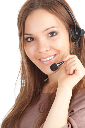 Call center woman with a headset, series