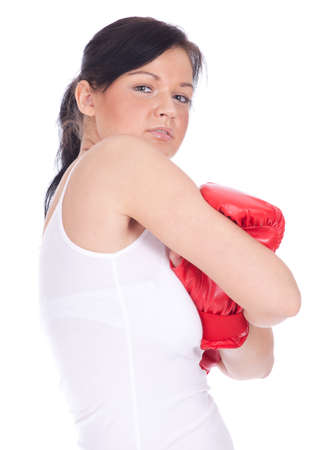 beautiful young woman in pair of red boxing gloves  Stock Photo - 9177114