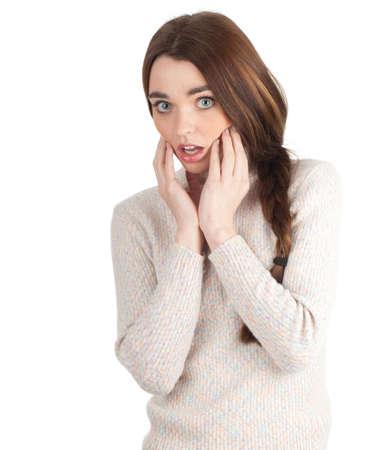 mujer asustada con la boca abierta y manos cerca de cara  Foto de archivo - 9516794