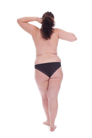 standing back fat young woman in black panties Stock Photo - 10420986