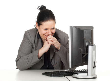 smiling, happy fat businesswoman and computer, series Stock Photo - 10421109