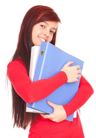 smiling student girl with file binders, white background Stock Photo - 11061364