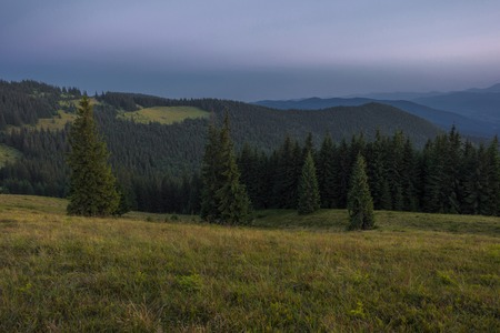 Summer evening after sunset in the Carpathians Stock Photo