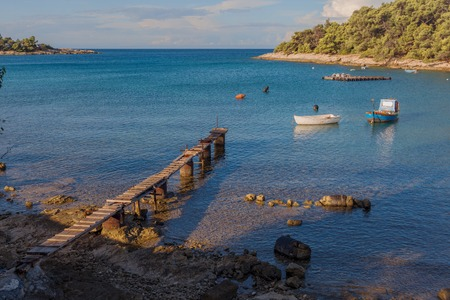 Pier and boat lagoon in Croatian Stock Photo