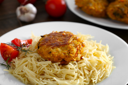 Vegetarian food with pasta to garnish on a white plate. Healthy food for vegan. Healthy food from natural products.