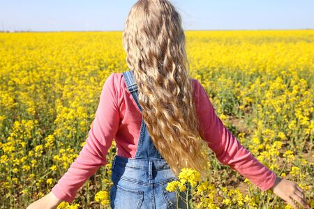 Child with beautiful golden hair against the sky and a yellow field. Wind hairstyle. Freedom concept. Hair care. Imagens