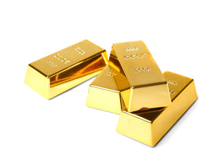 Gold bars of 200 g on a white background. A pile of gold is not isolation Stock fotó
