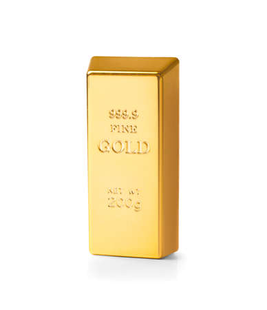 Gold bar 200 g on a white background. An opportunity to invest in a profitable asset. Stock fotó