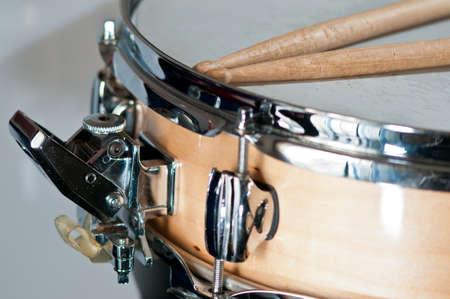 Detail of snare drum, musical instrument, drums, drumsticks
