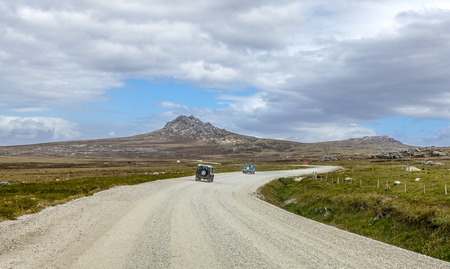 port stanley: 4X4 Safari in the Falkland Islands  From Port Stanley to North Pond on East Falkland  Stock Photo
