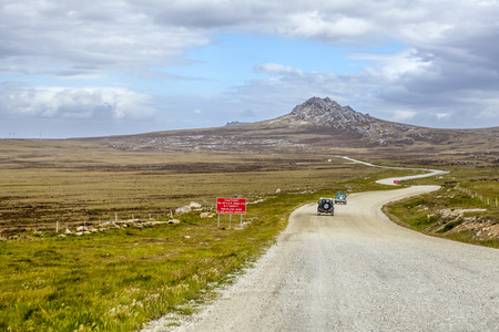 4X4 Safari in the Falkland Islands  From Port Stanley to North Pond on East Falkland  版權商用圖片