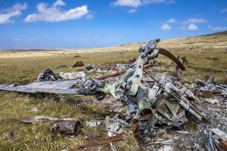 falklands war: Helicoptere Crashed in Falkland Islands. From Falklands War, wreck of a argentine crashed helicopter left over from the Falklands 10 km east from Port Stanley