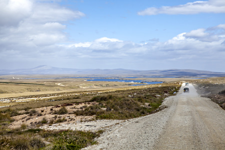 port stanley: Gravel road from Port Stanley to North Pond on East Falkland.