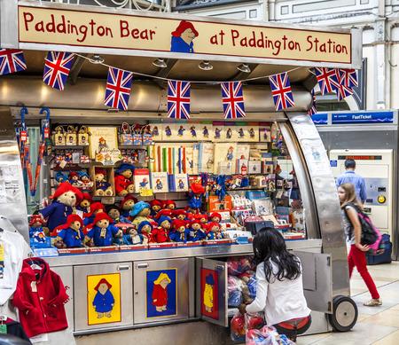 LONDON, ENGLAND - MAY 2012: Kiosk of Paddington Bear at Paddington railway station in London