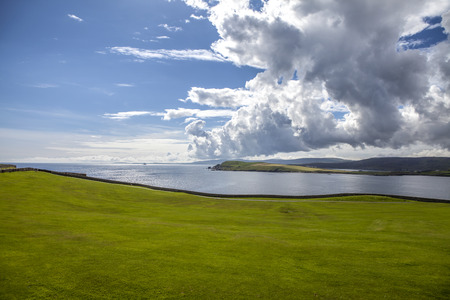 Beautiful landscape of the Mainland Island on Shetland Islands in Scotland. Viewed from a golf course in Lerwick  Stock Photo