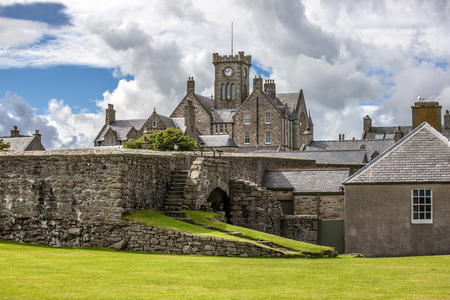 Lerwick, Shetland, Scotland, United Kingdom. View of the old Lerwick, Town Hall, Shetland, Scotland. Builded in 1884. Editorial