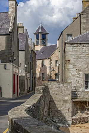 17th: Lerwick, Shetland, Scotland, United Kingdom. Street View of the old city of 400 years (17th century) with its characteristic granite houses in northern Europe. Editorial