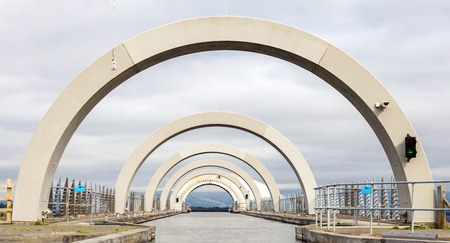 The Falkirk Wheel is a rotating boat lift in Falkirk, Scotland, connecting the Forth and Clyde Canal with the Union Canal.