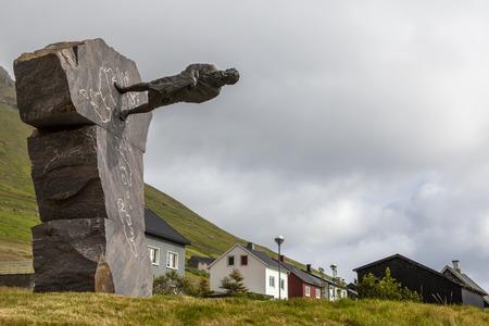 Tronda i Gotu. Hans Pauli Olsen Faroese sculptor made this monument in 2008 Trondur i Gotu (ca. 945 to 1035) Was a Viking from the Faroe Islands.