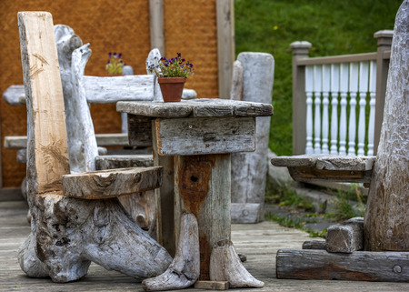 Furniture fully homemade from tree stump in Iceland