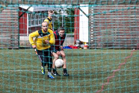 Footballs Players (soccer) during training with Huginn football Club at Seydisfjordur in Iceland.