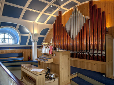choral: Pipe organ in a beautiful wooden chapel in Iceland Editorial