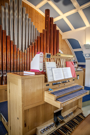 Pipe organ in a beautiful wooden chapel in Iceland Editorial
