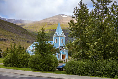 Part of the Small church of Seydisfjordur in Iceland Stock Photo