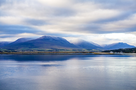 Landscape taken from the sea at Akureyri in Iceland.