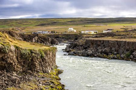 Landscape with Skjalfandafljot river near Godafoss Waterfall in Iceland. Stock Photo