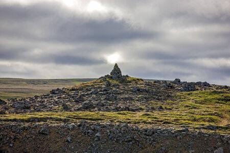 Rock Sculpture in Icelandic landscape taken on the road near Akureyri in Iceland.